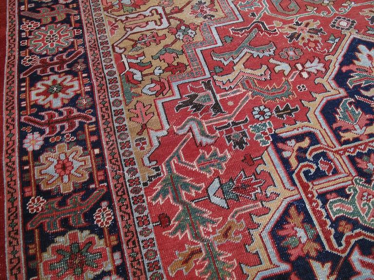 Hand-Knotted Antique Heriz Carpet with Gentle Wear For Sale