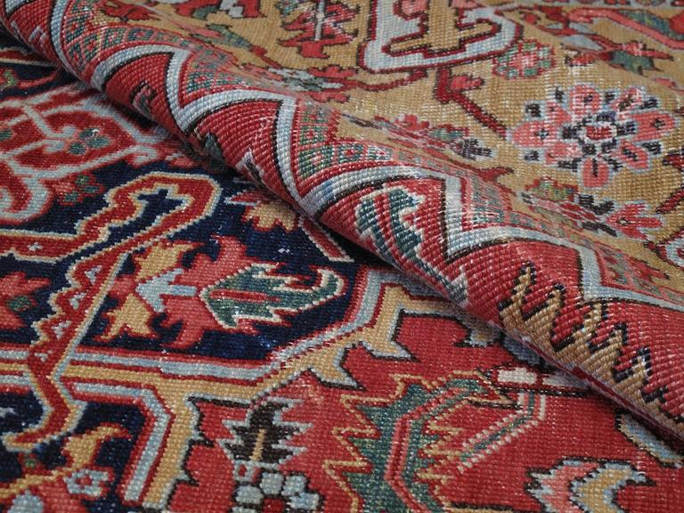 Wool Antique Heriz Carpet with Gentle Wear For Sale