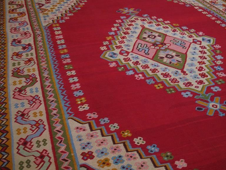 Turkish Fantastic Antique Oushak Kilim For Sale