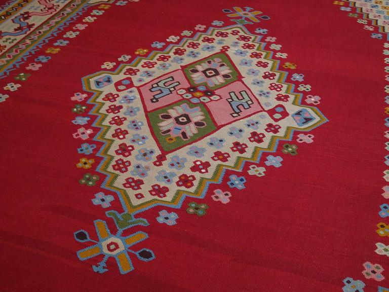 Hand-Woven Fantastic Antique Oushak Kilim For Sale