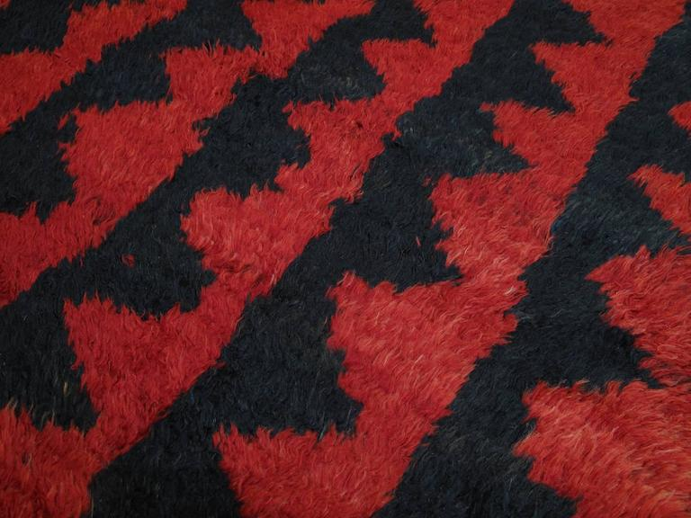 "Hand-Knotted ""Sawtooth"" Tulu Rug For Sale"