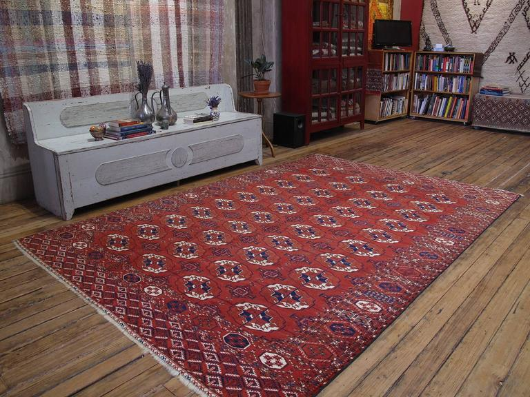 Antique Turkmen main carpet or rug. A great example of Turkmen tribal weaving carpet or rug featuring the classical design of the Tekke Turkmen tribe erroneously called a