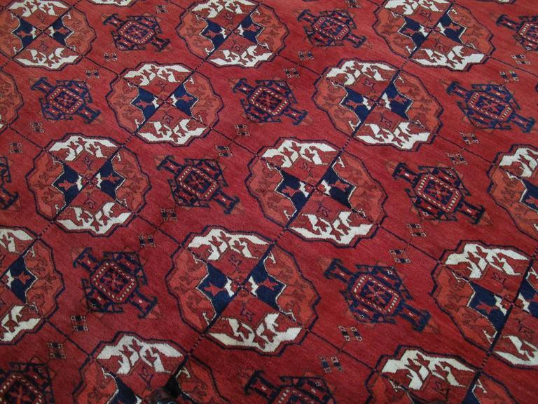 Hand-Knotted Antique Turkmen Main Carpet For Sale