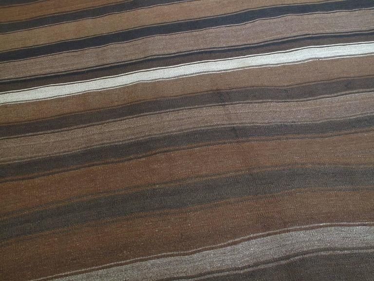 Turkish Kilim Rug with Wavy Bands For Sale