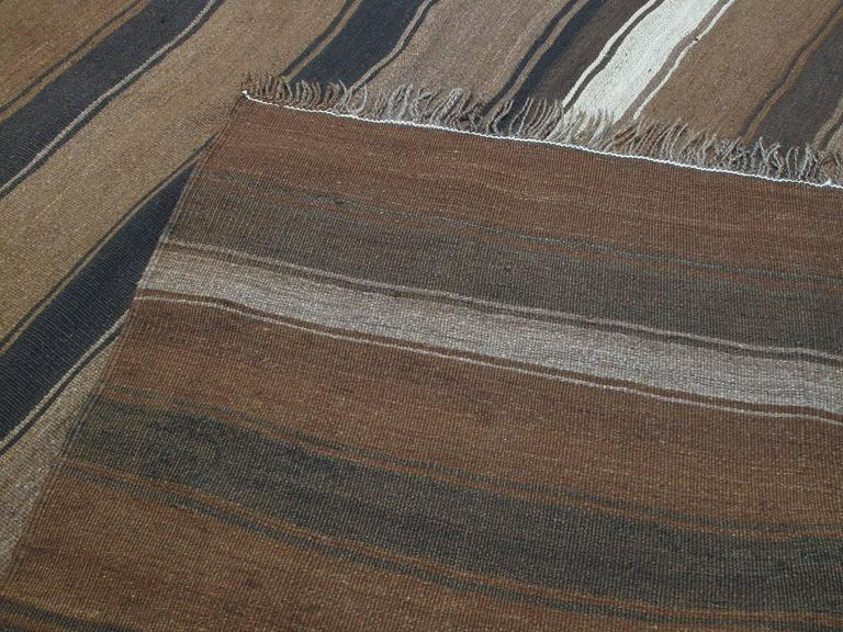 Kilim Rug with Wavy Bands For Sale 2