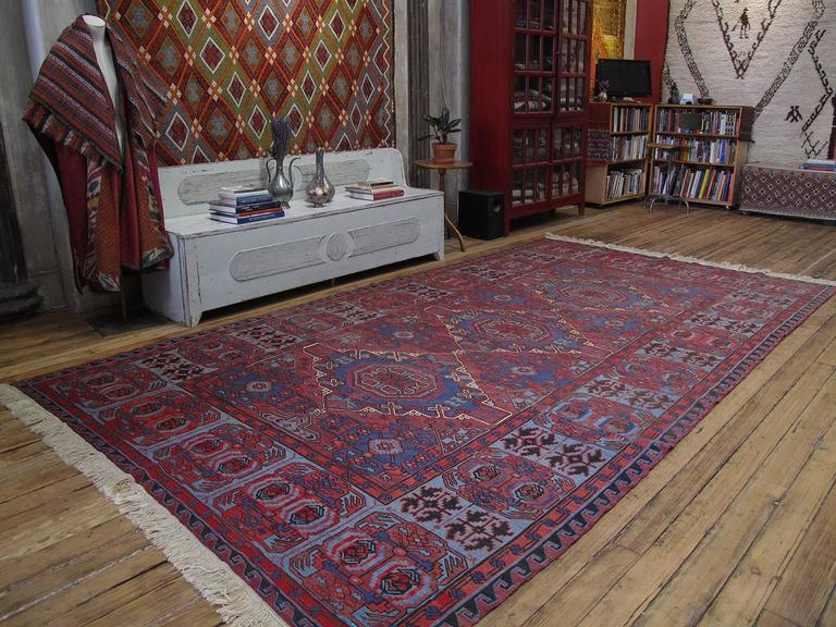 "A very handsome old tribal flat-weave from Azerbaijan, woven in the intricate ""sumak"" brocading technique. Combining a tribal design sensibility with the classical weaving traditions of this prolific region, large sumaks like this continued to be"