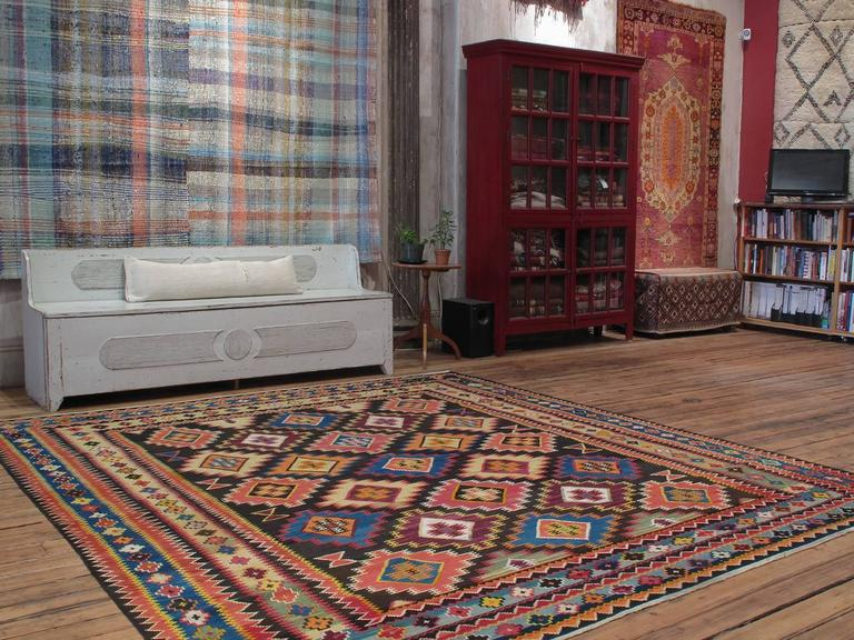 Large Azeri Kilim rug. An unusually large and very sturdy flat-weave rug from Azerbaijan of relatively recent vintage, perhaps circa 1970s, woven in the style of old Kuba kilims, although the old ones are usually narrower and longer. The wool and