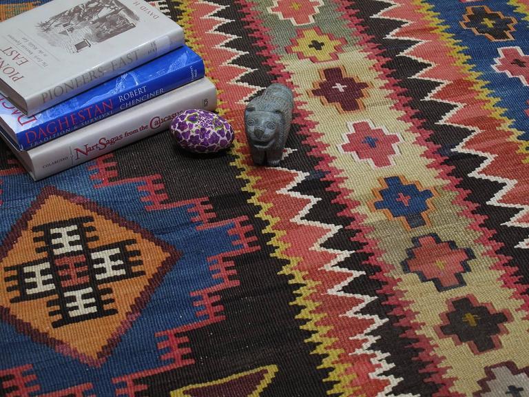 Wool Large Azeri Kilim Rug For Sale