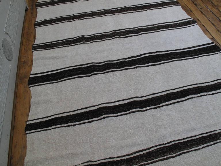 Turkish Banded Jute Kilim For Sale