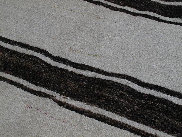 20th Century Banded Jute Kilim Rug For Sale