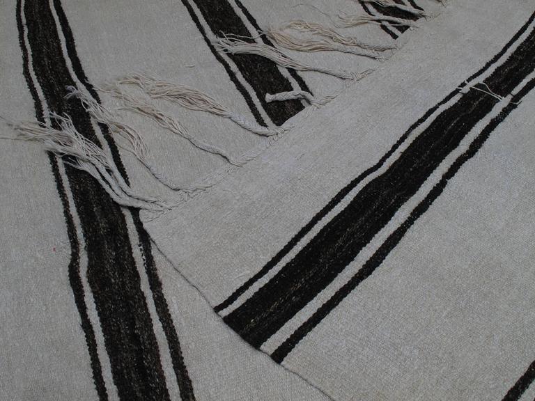 Banded Jute Kilim Rug For Sale 3