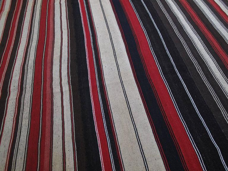 Turkish Large Kilim with Vertical Stripes For Sale