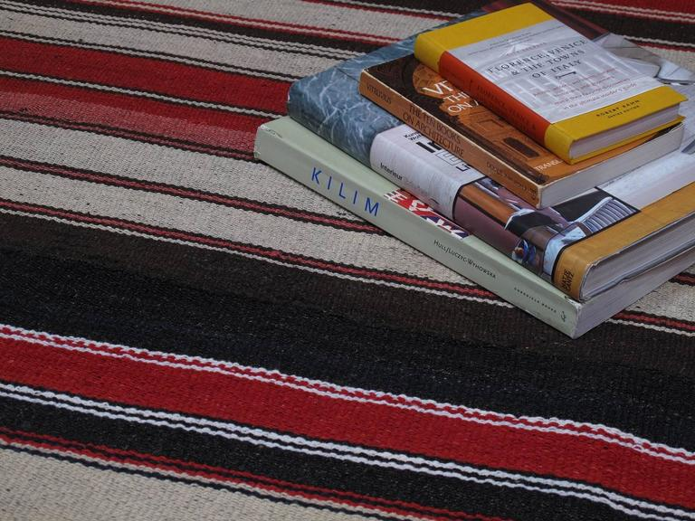 20th Century Large Kilim with Vertical Stripes For Sale