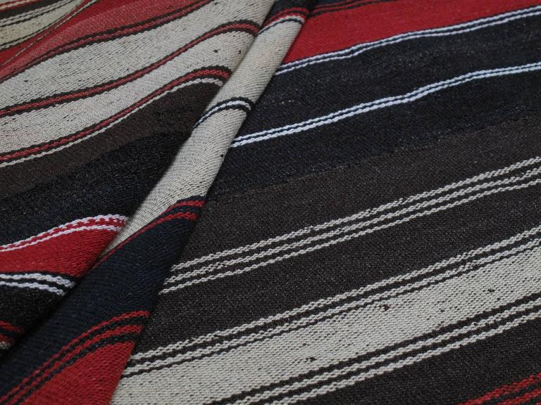 Wool Large Kilim with Vertical Stripes For Sale