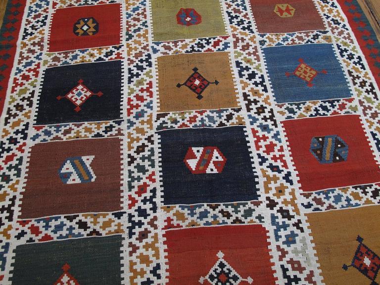 Persian Antique Qashqai Kilim Rug For Sale