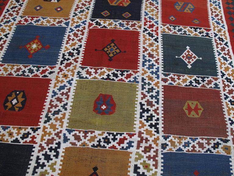 Hand-Woven Antique Qashqai Kilim Rug For Sale
