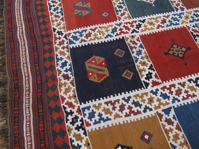 19th Century Antique Qashqai Kilim Rug For Sale