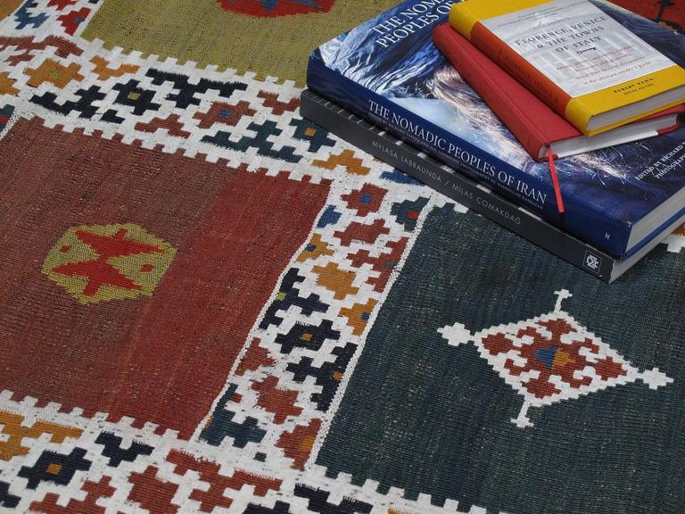 Wool Antique Qashqai Kilim Rug For Sale