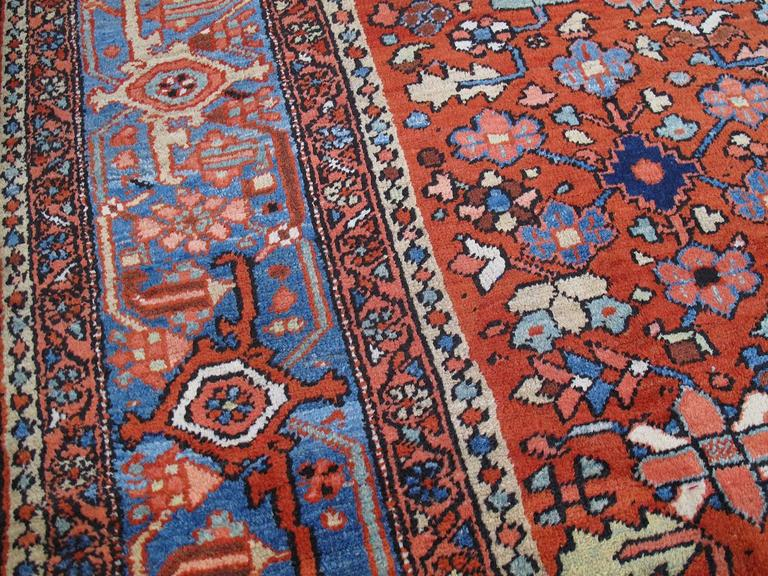 Hand-Knotted Antique Heriz Carpet For Sale