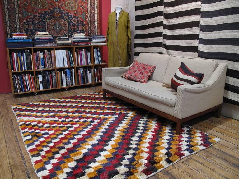 """Tulu"" Rug with Checkered-Diagonal Pattern 3"