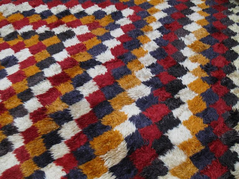 """Tulu"" Rug with Checkered-Diagonal Pattern 5"