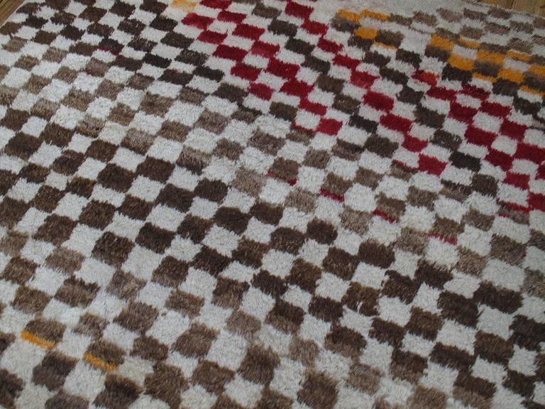"""Hand-Knotted Checkerboard """"Tulu"""" Rug For Sale"""
