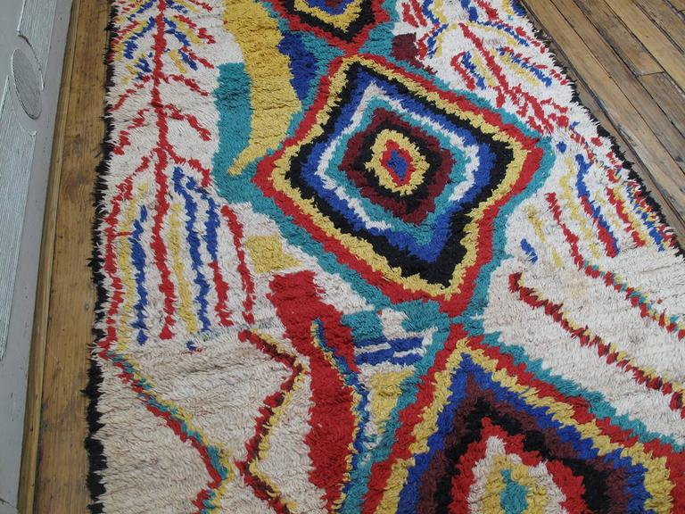 Tribal Striking Azilal Berber Moroccan Rug For Sale