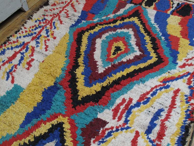 Hand-Knotted Striking Azilal Berber Moroccan Rug For Sale