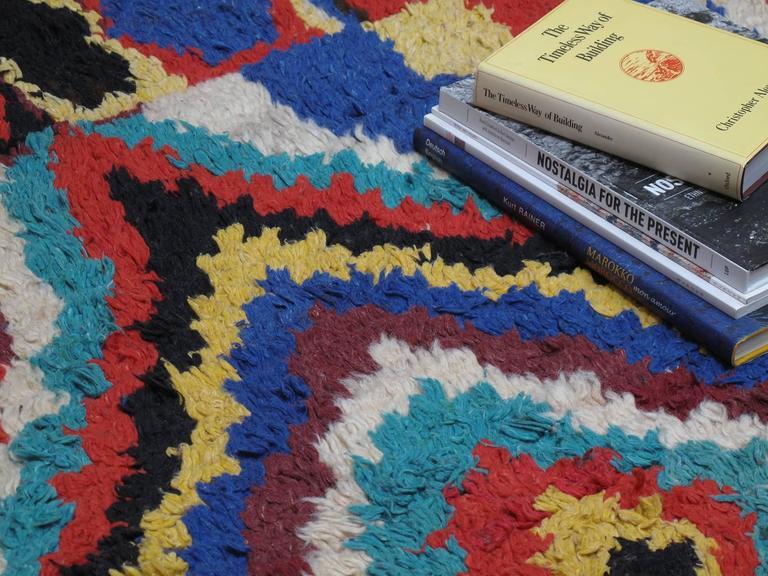 Wool Striking Azilal Berber Moroccan Rug For Sale