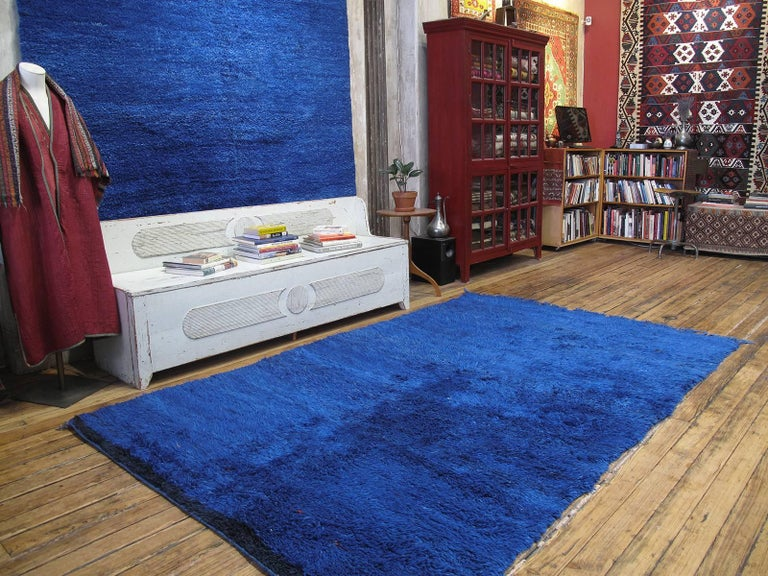 A very intense shade of blue, this old Beni Mguild Berber rug, is one of our most exciting recent finds.