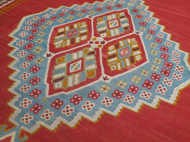 Hand-Woven Large Antique Oushak Kilim For Sale