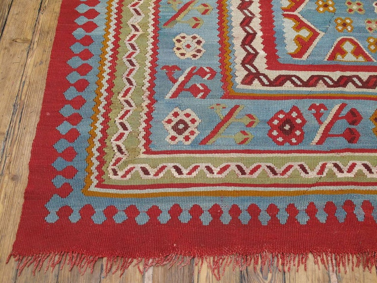 Wool Large Antique Oushak Kilim For Sale