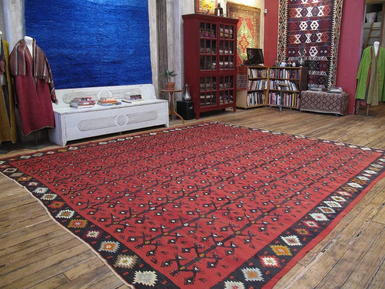 An impressive, large format kilim from The Balkans, featuring a variation of the