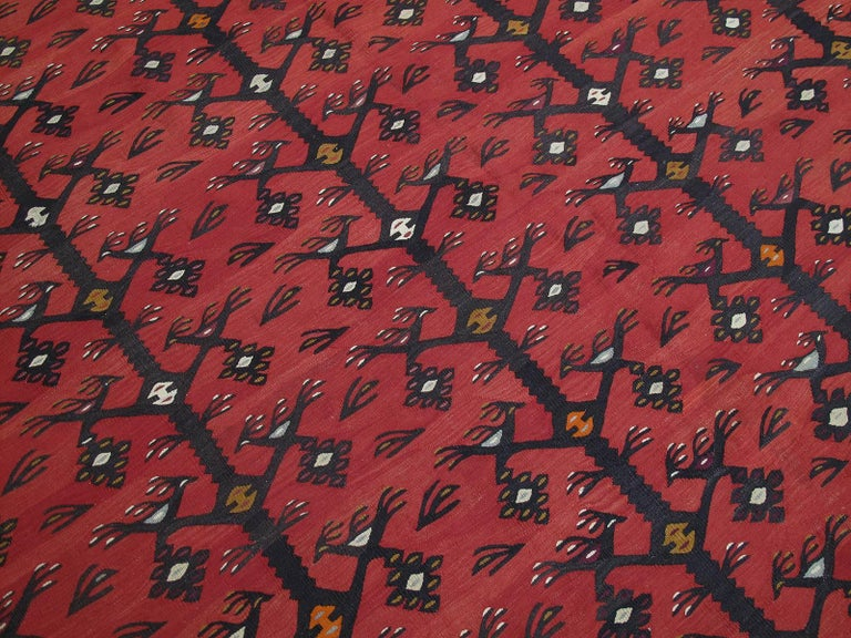 """Balkan """"Tree-of-life with Birds"""" Kilim For Sale"""