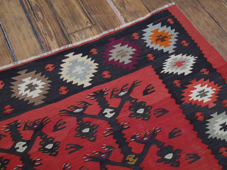 """20th Century """"Tree-of-life with Birds"""" Kilim For Sale"""
