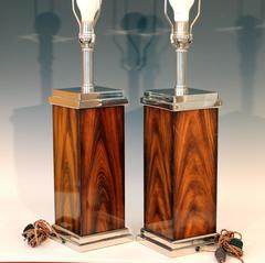 Pair of Vintage Chrome and Rosewood Square Lamps Attributed to Jean Claude Mahey
