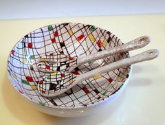 Italian Pottery Serving Set Salad Bowl MCM Raymor Mondrian Modern Art Bitossi FF