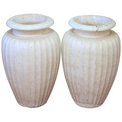 Pair of Antique Galloway Terracotta Ceramic Art Deco Pottery Garden Urn Vases