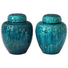 Pair of Turquoise Awaji Pottery Ginger Jars, Covers Applied and Incised Prunus
