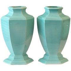 Large Pair of Art Deco Trenton, NJ Topeco 1930s Aqua Turquoise Urns Vases