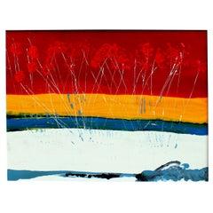 Large Vintage Expressionist Landscape Painting Signed Enamel on Board