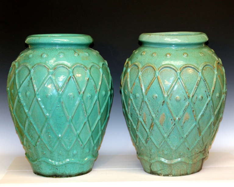 Art Deco Pair of Galloway Terracotta Company Urns For Sale