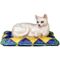 Vintage 1960er Jahre Italienische Keramik Majolika Katzen Figur auf Kissen