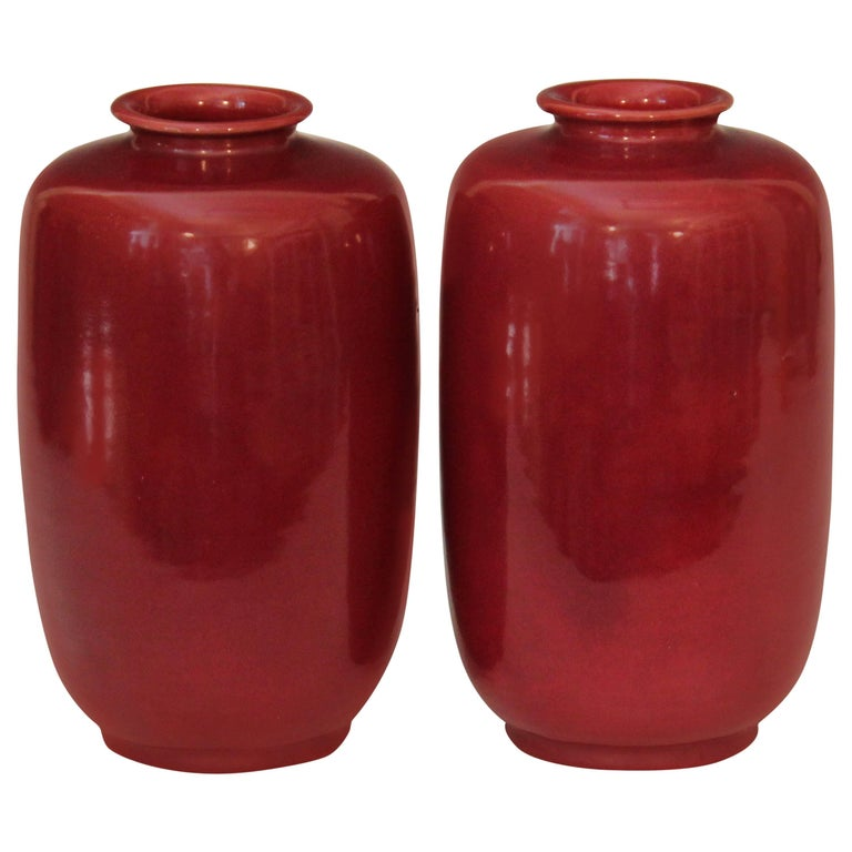 Pair of Old or Antique Awaji Pottery Burgundy Ginger Jars Tea Ceremony Garniture For Sale