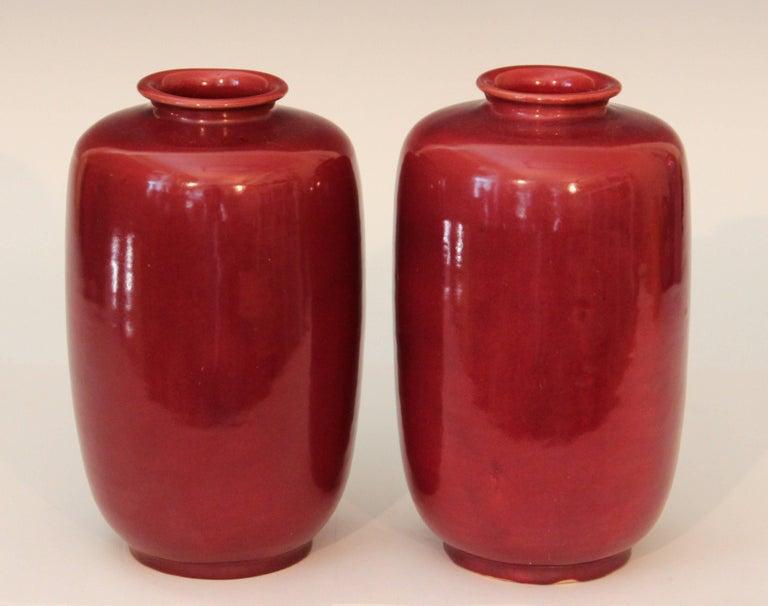 Art Nouveau Pair of Old or Antique Awaji Pottery Burgundy Ginger Jars Tea Ceremony Garniture For Sale