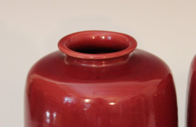 20th Century Pair of Old or Antique Awaji Pottery Burgundy Ginger Jars Tea Ceremony Garniture For Sale