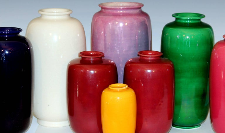 Pair of Old or Antique Awaji Pottery Burgundy Ginger Jars Tea Ceremony Garniture For Sale 1