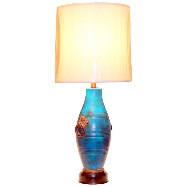 Large Italian Ming Zaccagnini Pottery Turquoise Crackle Glaze Ring Handle Lamp For Sale