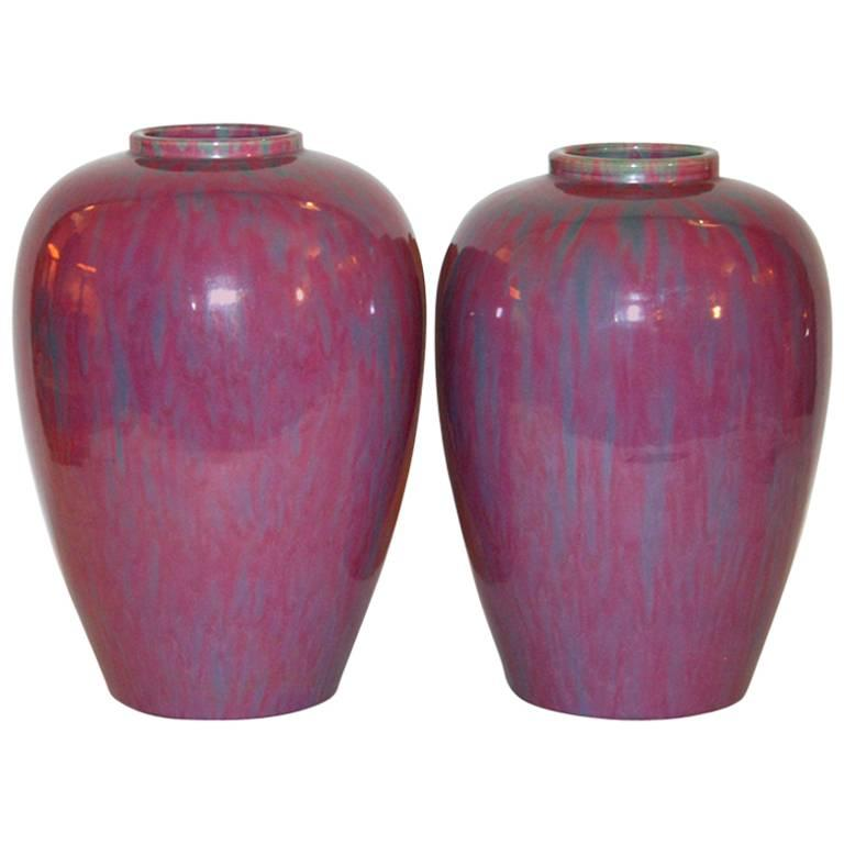 Pair Awaji Pottery Art Deco Pink Flambé Ginger Jars Large Garniture For Sale