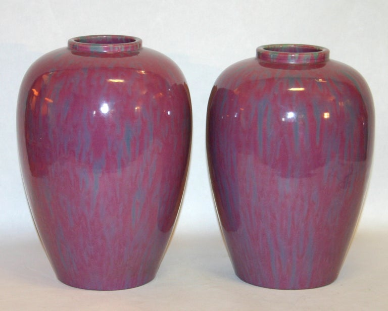 Large pair of Art Deco Awaji pottery ginger jars in pink flambe´ glaze, circa 1930. Impressed marks. Measures: 12
